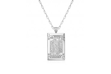 Sterling Silver Jack of Clubs Necklace