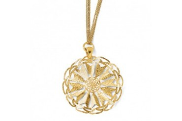 Sunburst Triple Strand Adjustable Necklace in 14K Gold Plated Silver