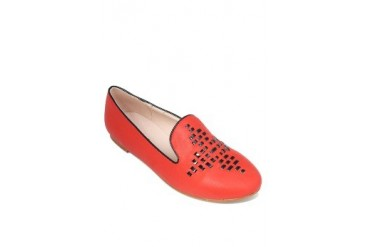 Red Flats Loafers
