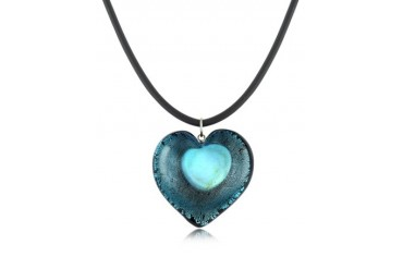 Silver Leaf and Murano Glass Heart Pendant Necklace