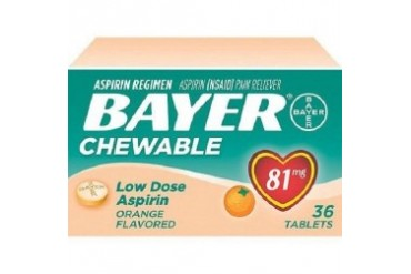Bayer Orange Flavored Chewable Low Dose Aspirin Pain Reliever