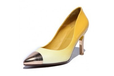 Real Leather Stiletto Heel Pumps Closed Toe shoes (085044586)