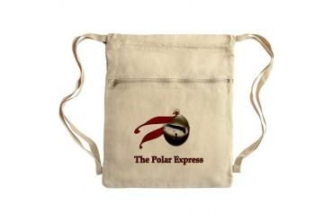 The Polar Express Train on Believe Bell Sack Pack Christmas Cinch Sack by CafePress