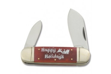 "Frost Cutlery ""Happy Holidays"" Elephant Toe with Red Smooth Bone Handle"