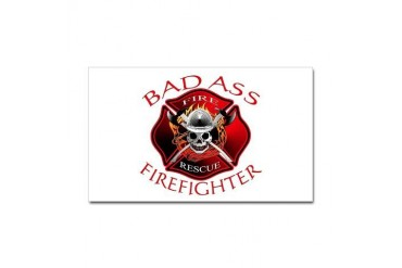Bad Ass Firefighter Rectangle Sticker