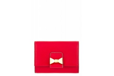 Chlo Red Leather Bobbie Card Holder