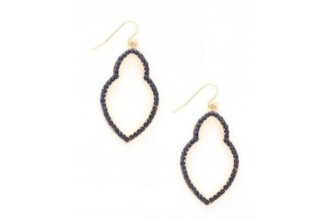 Marlyn Schiff Pave Keyhole Earrings Navy