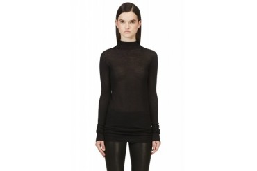 Rick Owens Black Alpaca And Silk Crater Sweater