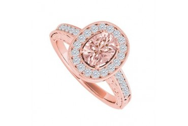 Morganite and Cubic Zirconia Halo Engagement Ring