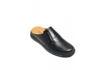 Mules black leather shoes