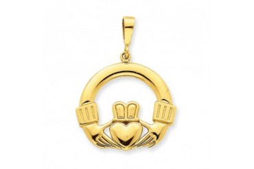25mm Claddagh Pendant in 14 Karat Yellow Gold