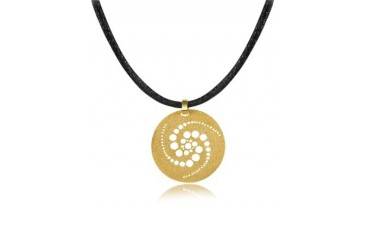 Golden Silver Etched Crop Circle Round Pendant w/Leather Lace