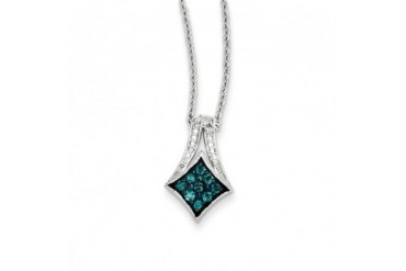 1 4 Ctw Blue amp White Diamond Rhodium Plated Sterling Silver Necklace