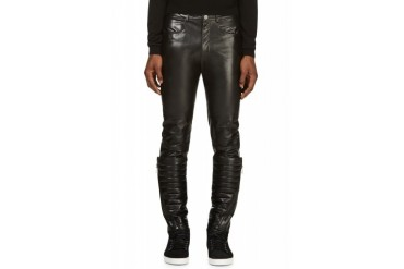 D.gnak By Kang.d Black Buffalo Leather Detachable Warmer Trousers
