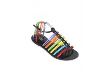 Black-Multicolor Flat Sandals