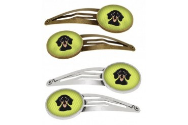Checkerboard Lime Green Smooth Black and Tan Dachshund Set of 4 Barrettes H