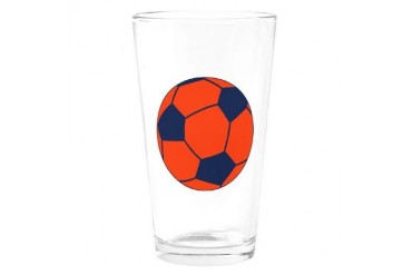 Blue and Orange Soccer Soccer Drinking Glass by CafePress