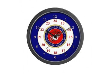 Marines 24 Hour Military Wall Clock by CafePress
