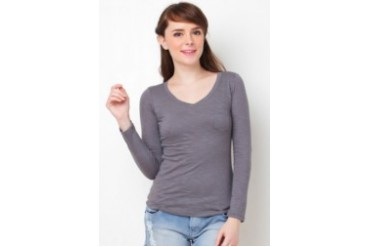 F 101 Comfort V neck Long Sleeve Blouse