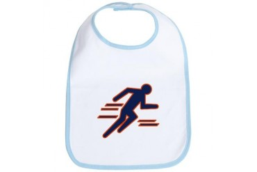 Blue and Orange Track Running Bib by CafePress