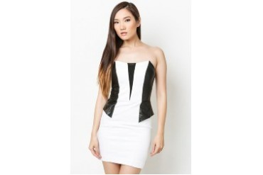 Strapless Ponte/Pu Mesh Dress