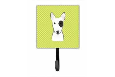 Checkerboard Lime Green Bull Terrier Leash or Key Holder