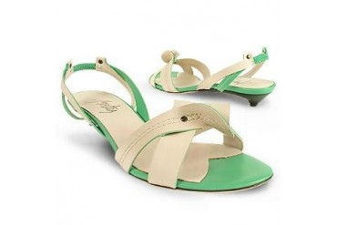 Cream & Mint Two-tone Leather Sandal Shoes