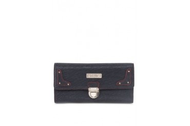 Unisa Contrast Stitching Long Ladies Wallet With Metal Lock