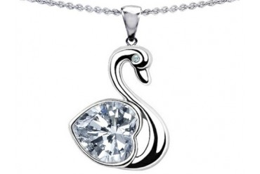 Star K Love Swan Pendant 8mm Heart Shape White Topaz