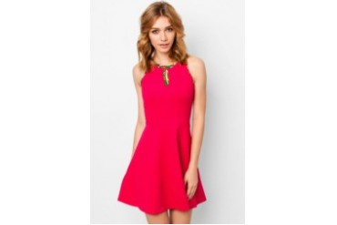 Fuschia Round Neck Flair Dress