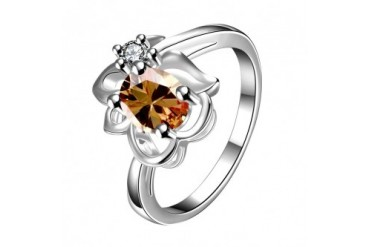 Yellow Citrine Floral Stud Petite Ring Size 7