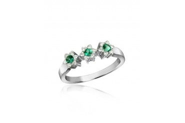 18K Gold Emerald and Diamond Trilogy Flower Ring
