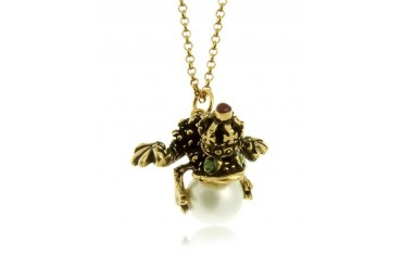 Glass Pearl Brass and Emerald Frog Pendant Necklace