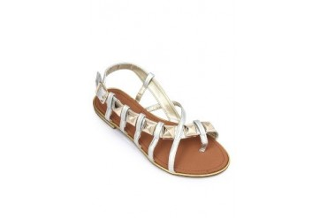 Silver Flat Sandals