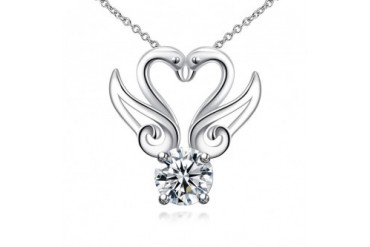 Double Hollow Wings Crystal Necklace