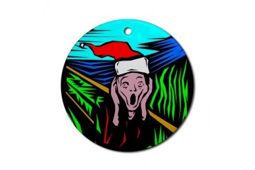 The Christmas Scream Keepsake Round Funny Round Ornament by CafePress