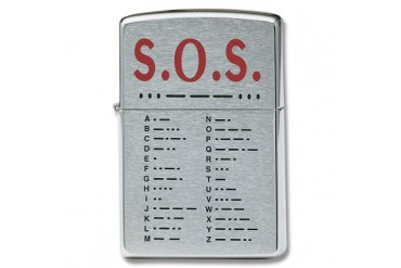 "Zippo ""S.O.S."" Lighter with Brushed Chrome Finish"