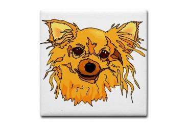 Hairy blonde dog head brown eyes graphic Tile Coas Dog Tile Coaster by CafePress
