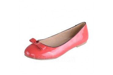 Leatherette Flat Heel Flats With Bowknot (086026699)