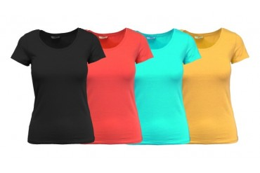 Womens Fine Egyptian Cotton Stretch s s tee- 4 pack- assorted colors