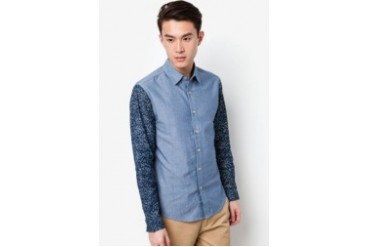 Long Sleeve Chambray Shirt With Contrast Sleeves