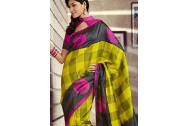 Zesty Yellow Art Silk Saree