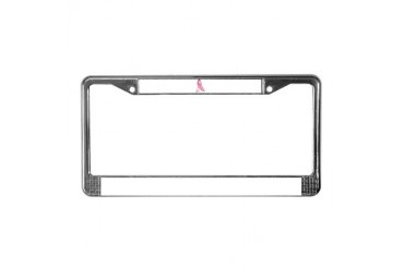 Pink Ribbon Health License Plate Frame by CafePress