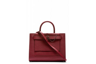 Carven Burgundy Leather Chain lock Tote