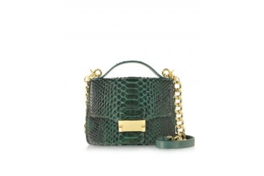 Emerald Green Python Leather Shoulder Bag