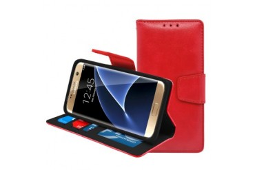 Samsung Galaxy S7 Edge Folio Leather Wallet Pouch Case Cover Red