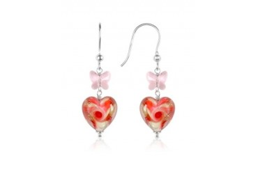 Vortice - Pink Swirling Murano Glass Heart Earrings
