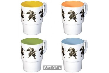 Samurai 1 Vintage Stackable Mug Set 4 mugs by CafePress