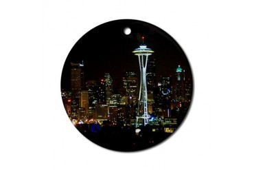 Seattle at Night Ornament (Round)