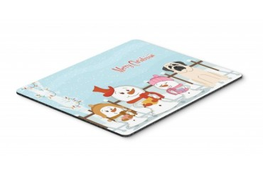 Merry Christmas Carolers Mastiff White Mouse Pad, Hot Pad or Trivet